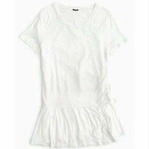 NWT J. Crew White Side-Ruched Peplum T-Shirt